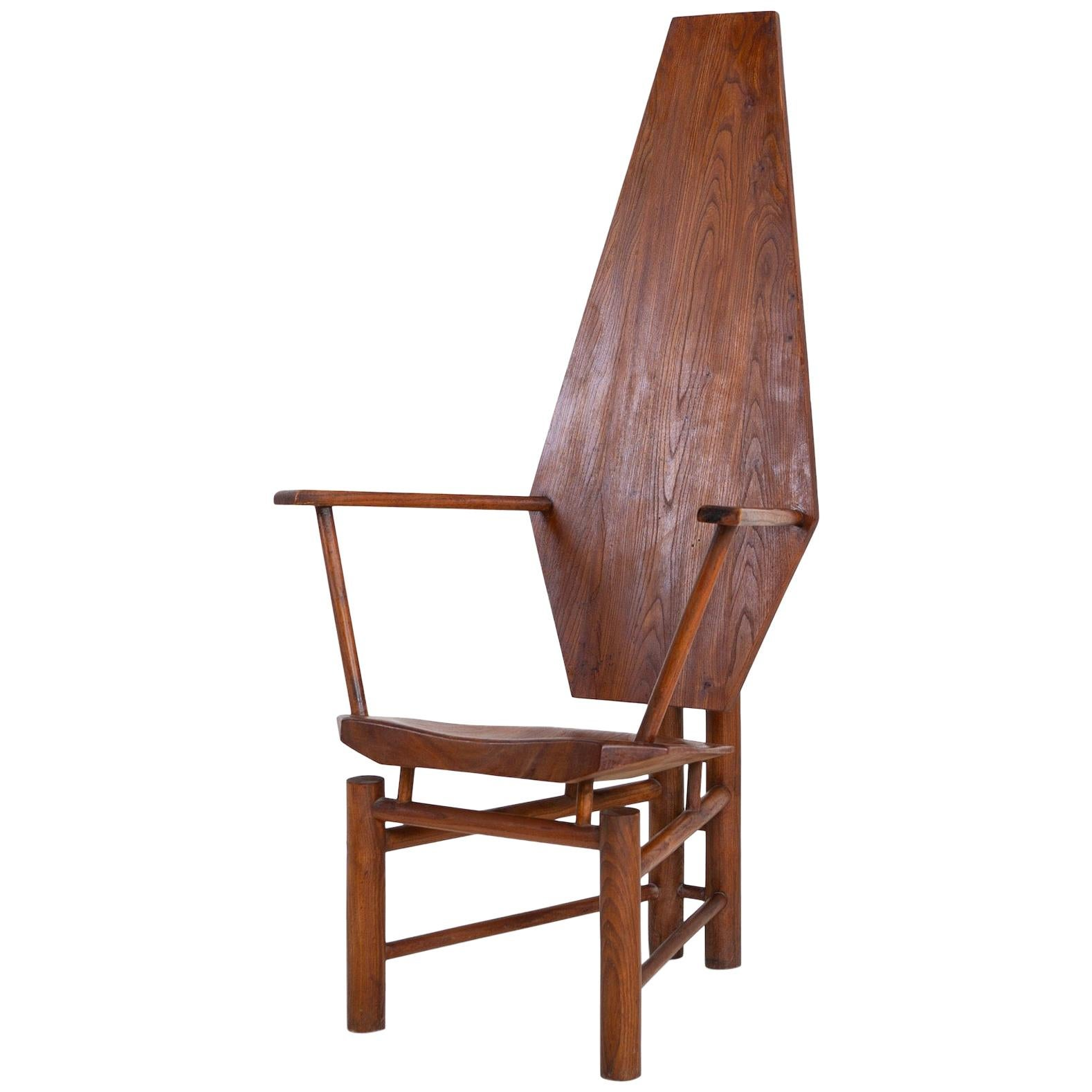 Sculptural Wooden Armchair, Mid-20th Century