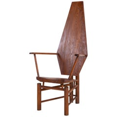 Sculptural Wooden Armchair, Mid-20th Century