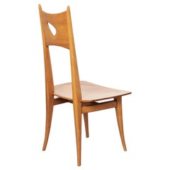 Sculptural Wooden High Back Chair Anthroposophy France or Switzerland, 1950