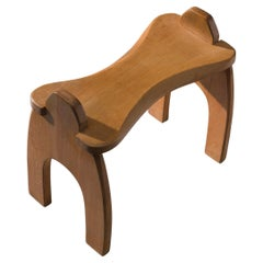 Sculptural Wooden Stool in Solid Oak