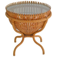 Sculptural Woven Rattan Side Table