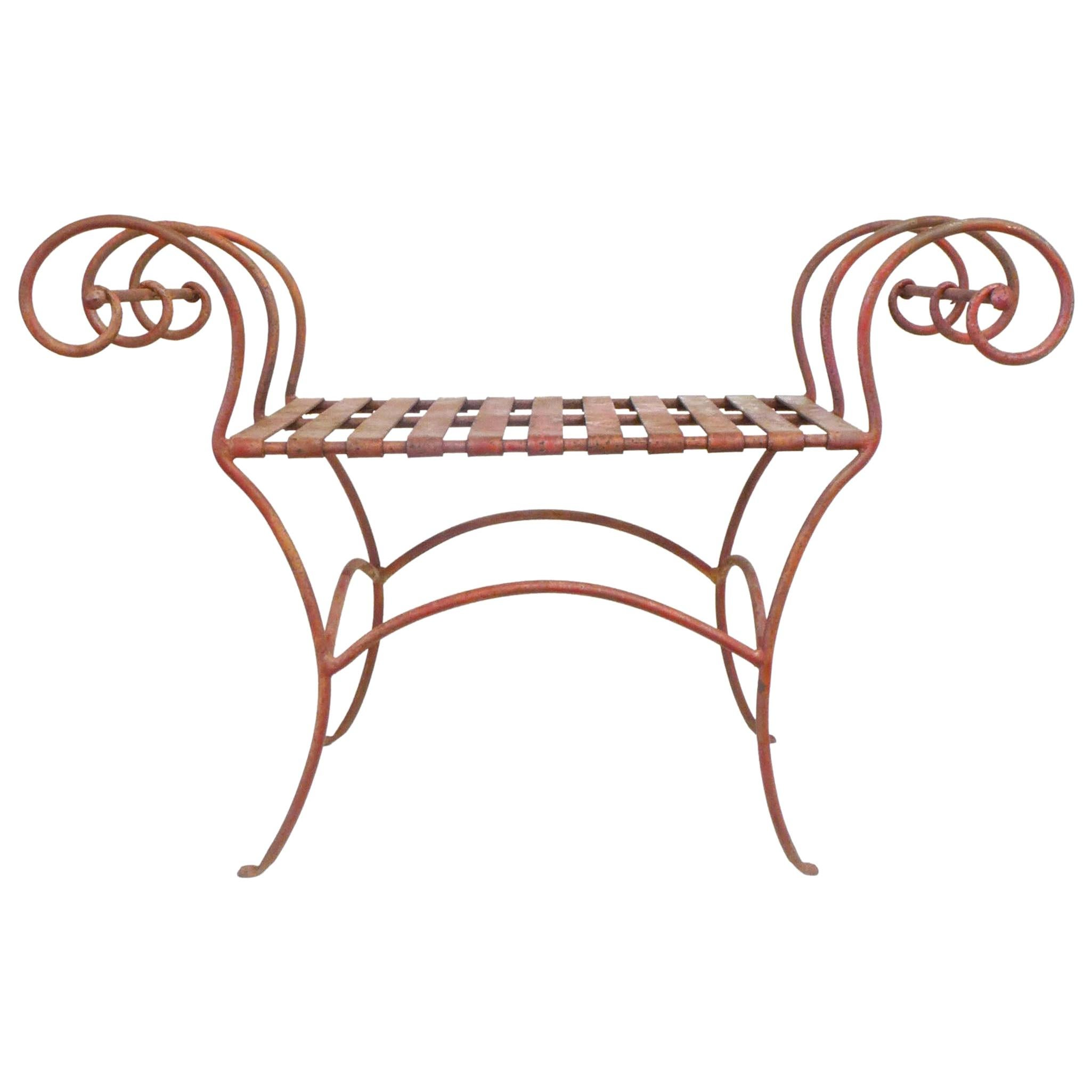 Sculptural Wrought Iron Bench