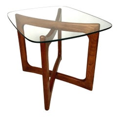 Sculptural X-Base Adrian Pearsall for Craft Associates Walnut and Glass Table