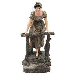"""Sculpture """"Appel Au Passeur"""" by J. Le Guluche Editor, """"A. Hanne"""" Signed"""