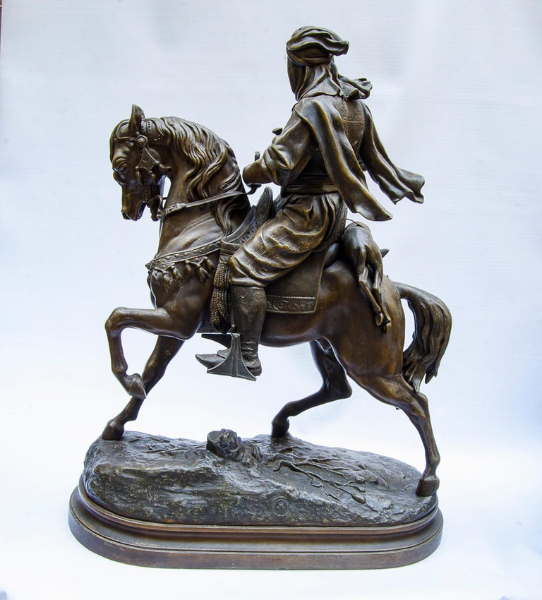 Pewter sculpture orientalist, signed: Barye Fils  Subject: