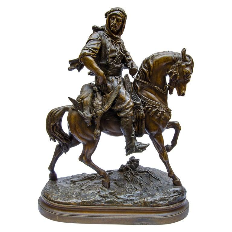 Sculpture 'Arab on Horseback' Foundry Pewter For Sale