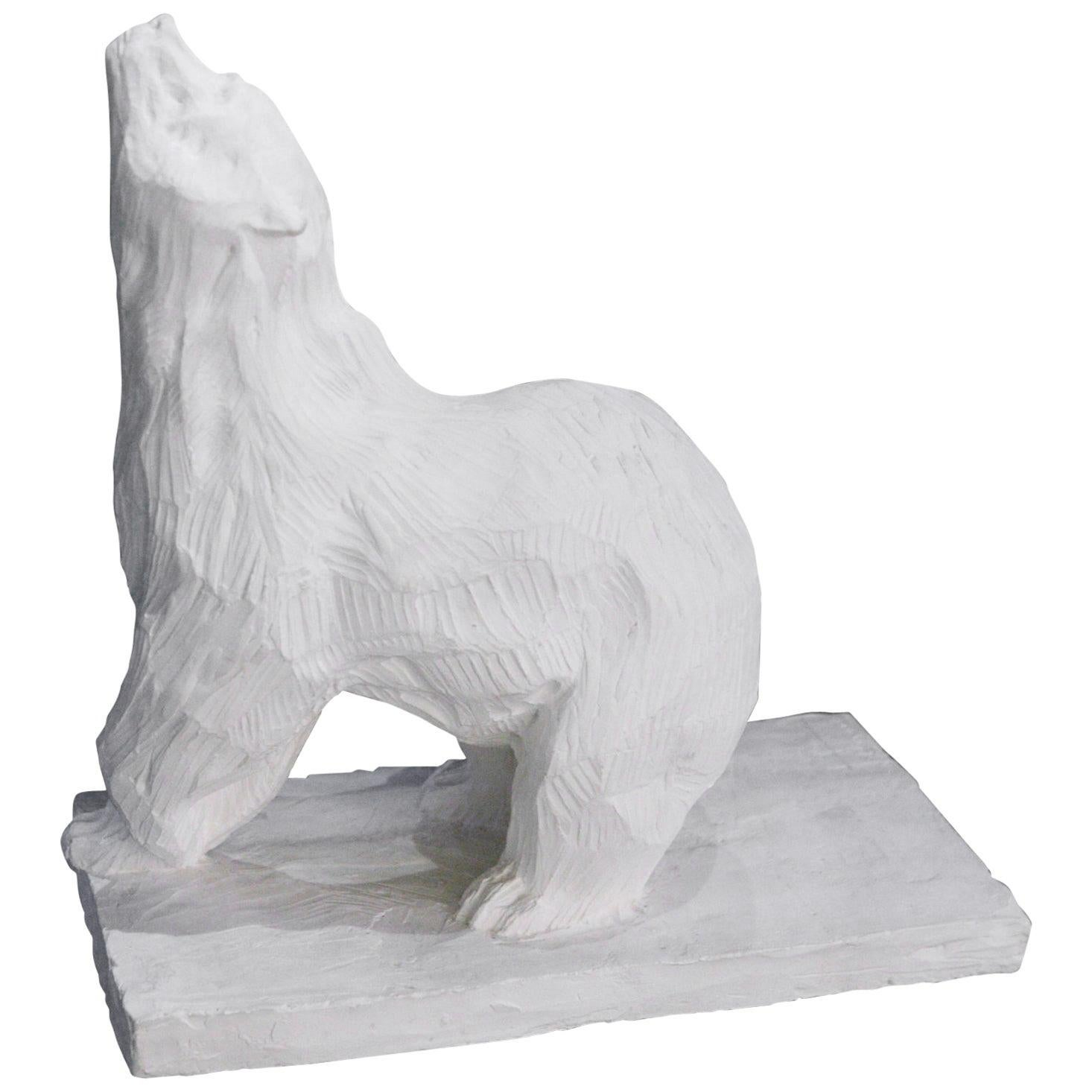Sculpture Bear in Plaster Limited Edition 60/100 by J.B Vandame, 2015