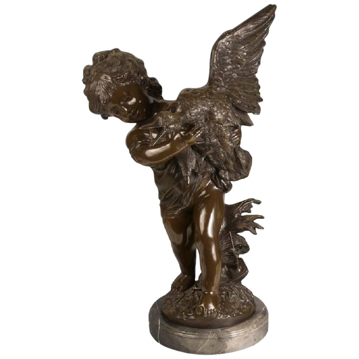 """Sculpture Bronze, """"Girl with Duck"""". After Auguste Moreau, 20th Century"""