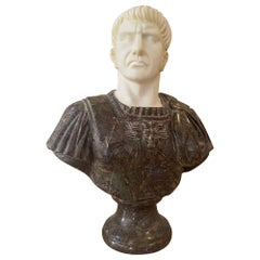 Sculpture Bust Roman Emperor White and Red Marble
