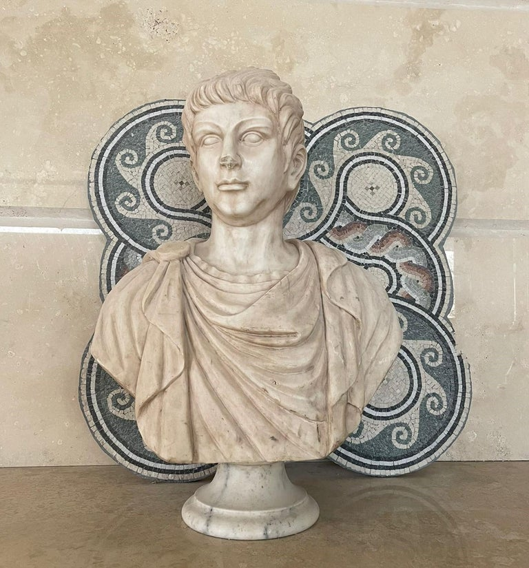 Marble Sculpture Bust Of Emperor Julius Caesar After The Antique Grand Tour For Sale 1