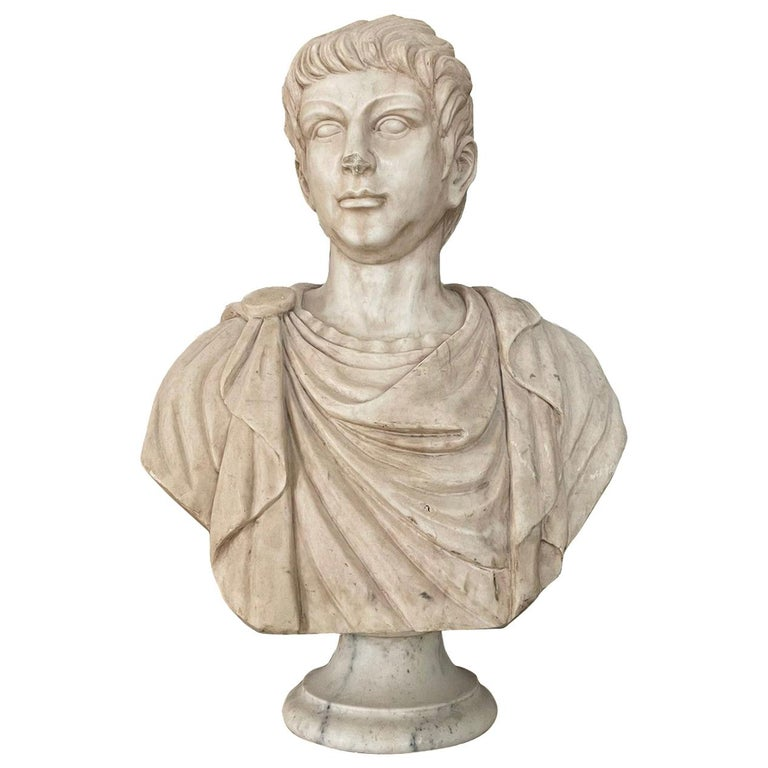 Marble Sculpture Bust Of Emperor Julius Caesar After The Antique Grand Tour For Sale