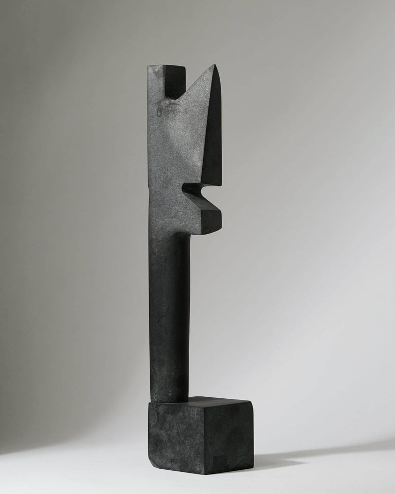 Sculpture by Björn Selder,  Sweden, 1998.  Diabas.  Measures: H 39 cm/ 15 1/2