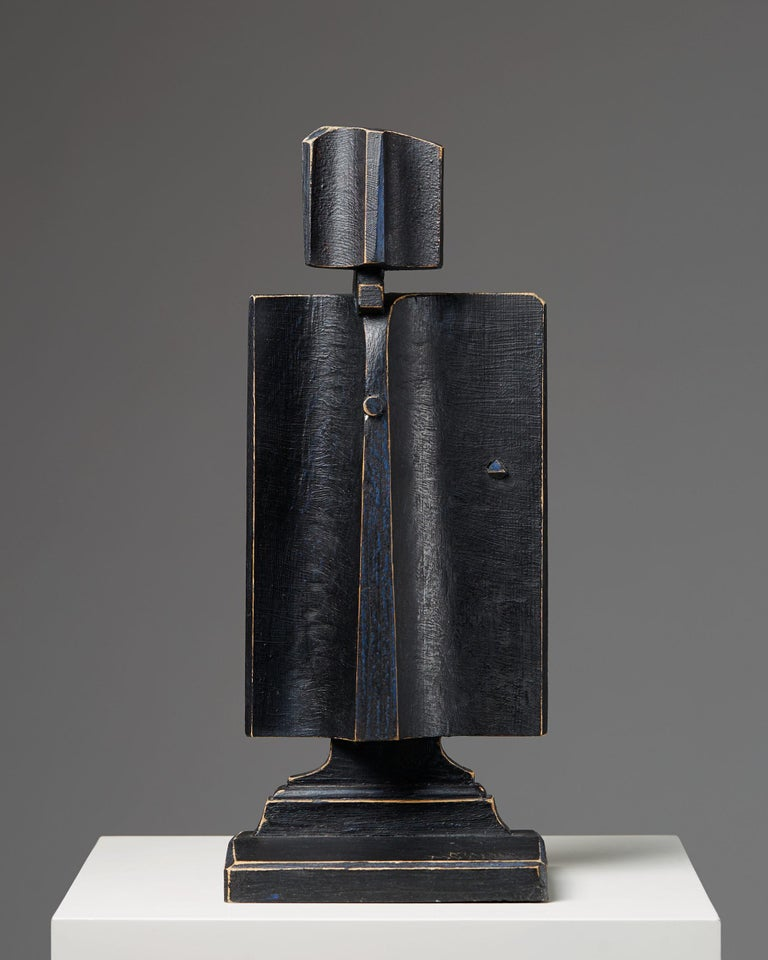 Sculpture by Kimmo Pyykkö, Finland, 1970s. Lacquered wood.  Measure: H 45 cm/ 17 3/4