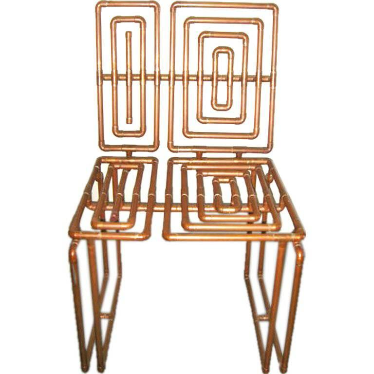 Sculpture Chair In Copper Pipe By T J Volonis For Sale At 1stdibs
