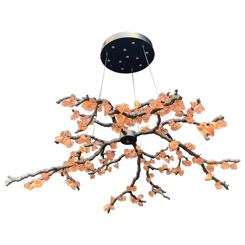 Sculpture Chandelier Handmade Almond Three Pendant Lamp in Cast Brass and Glass