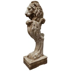 "Sculpture ""Column - Lion's Head on the Paw"" Aglomarble"