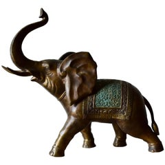 Sculpture, Elephant in Patinated and Painted Bronze