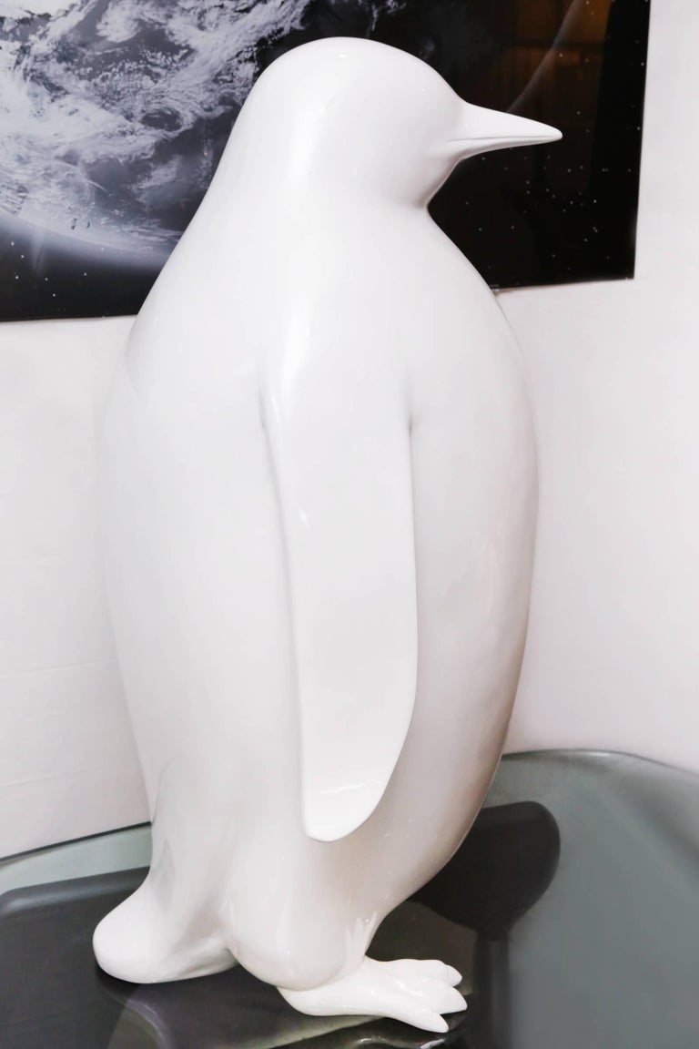 Contemporary Sculpture Emperor Penguin in Lacquered Resin For Sale