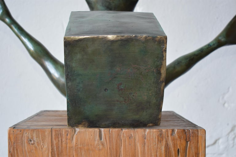 Molded Sculpture, Frog in Patinated Bronze,