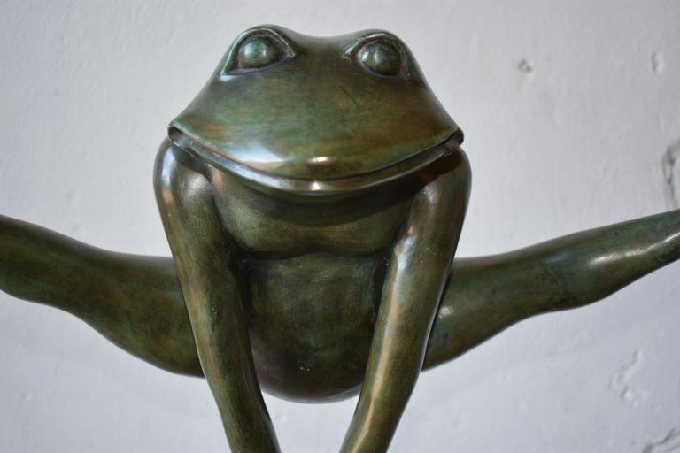 Sculpture, Frog in Patinated Bronze,
