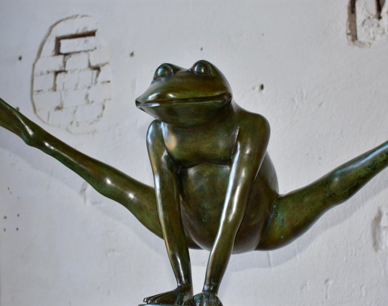 Contemporary Sculpture, Frog in Patinated Bronze,