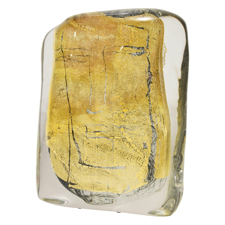Sculpture in Murano Blown Glass Clear and Gold Italian Design by Luigi Benzoni