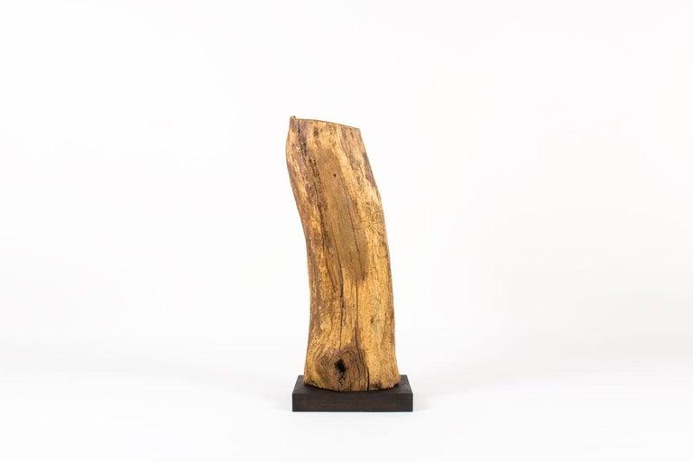 French Sculpture in Oak Butalist Design, 1950s For Sale