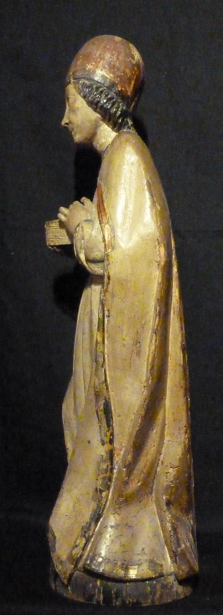 Renaissance Sculpture in Polychrome Wood, Depicting Bishop For Sale