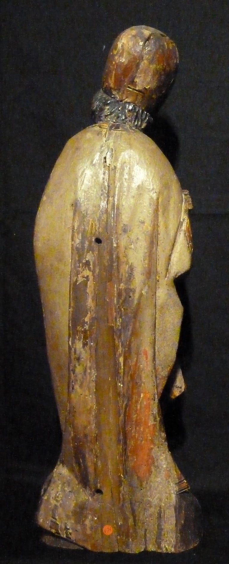 Italian Sculpture in Polychrome Wood, Depicting Bishop For Sale