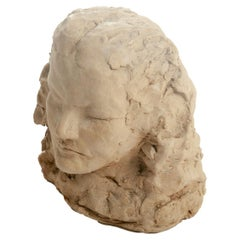 Sculpture in Terracotta, France XX Century, Representing Women Head