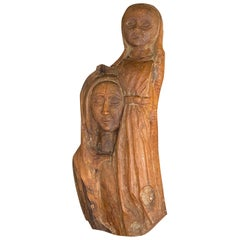 Sculpture in wood, old patina, France 1970