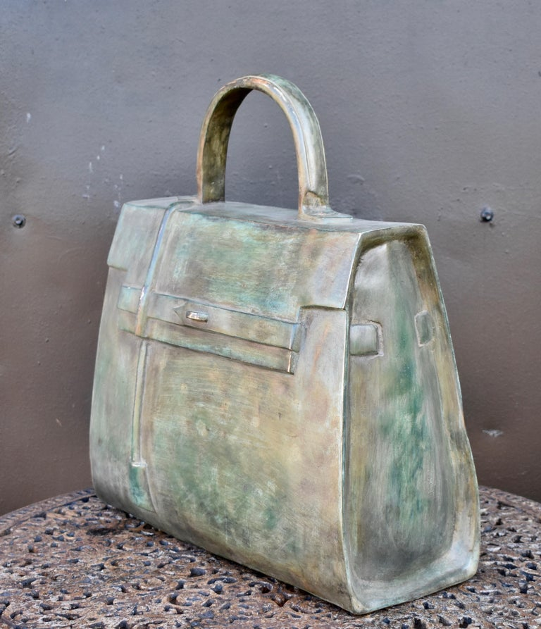 Sculpture, Kelly bag in bronze  made after the Hermes Kelly bag.  Unique.
