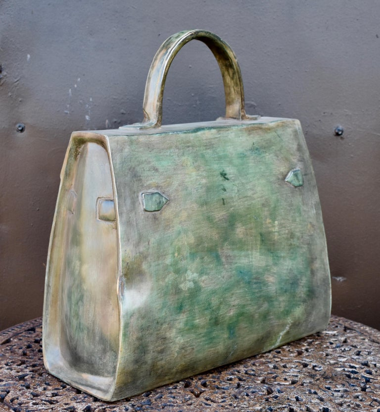 French Sculpture, Kelly Bag in Bronze For Sale
