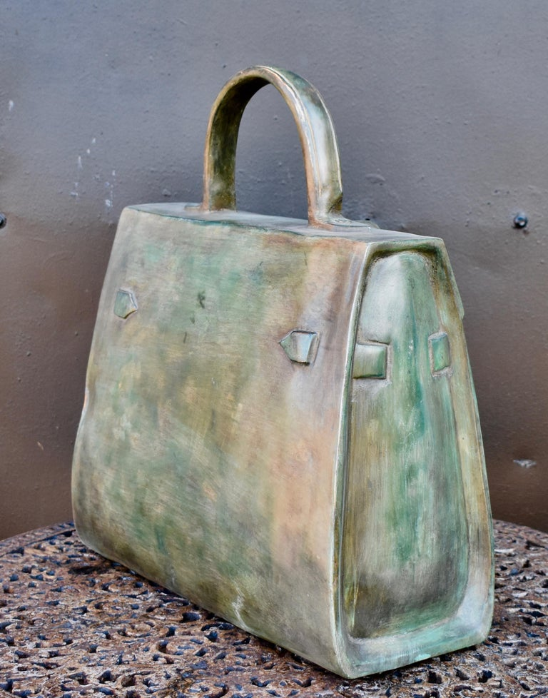 Molded Sculpture, Kelly Bag in Bronze For Sale