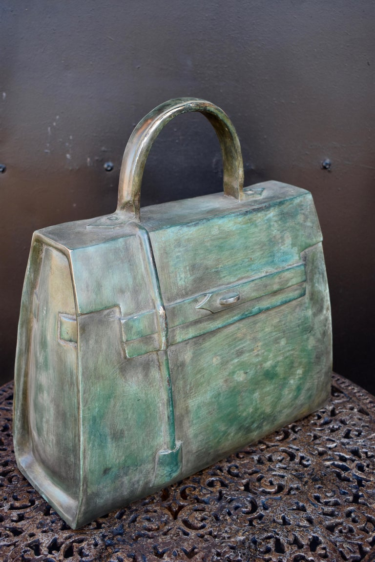 Contemporary Sculpture, Kelly Bag in Bronze For Sale