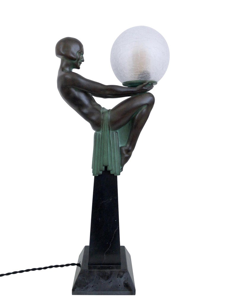 Sculpture Lamp Enigme in the French Art Deco Style an Original Max Le Verrier In Excellent Condition For Sale In Baden-Baden, DE