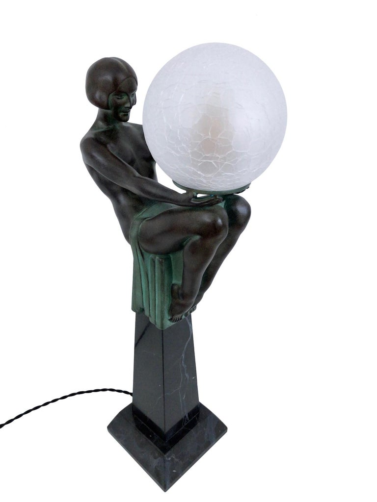 Spelter Sculpture Lamp Enigme in the French Art Deco Style an Original Max Le Verrier For Sale