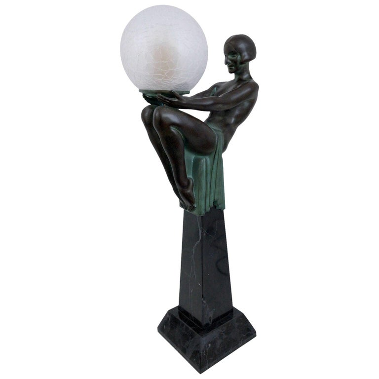 Sculpture Lamp Enigme in the French Art Deco Style an Original Max Le Verrier For Sale