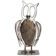"Sculpture ""Le Hibou"" in Stone and Metal Signed and Dated 1965"