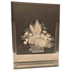 Sculpture Lucite Acrylic Clear Resin Flower Vase Basket Art Signed Mel Diamond
