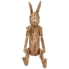 Sculpture Naive Carved Articulated Rabbit Model Artist Sculptor Height Folk