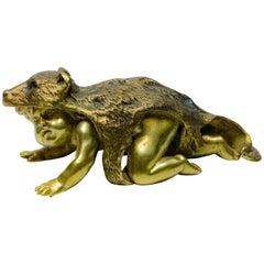 Sculpture of a Boy with Wolf Skin, Bronze