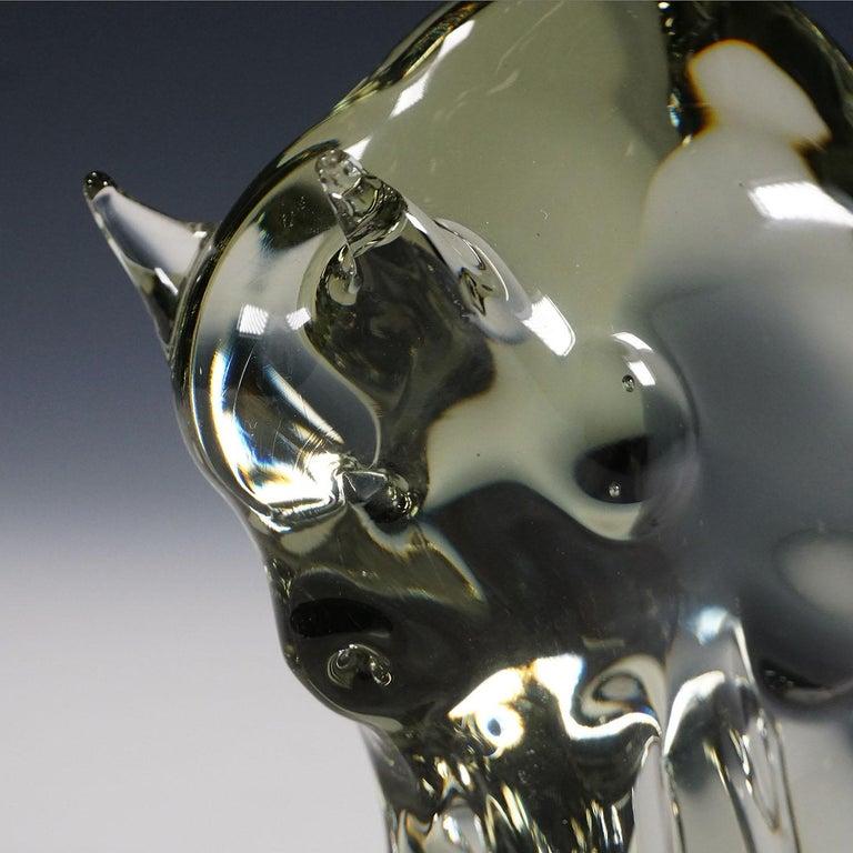 Mid-Century Modern Sculpture of a Murano Glass Bison Designed by Livio Seguso, circa 1970s