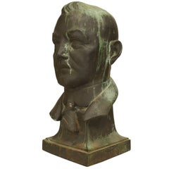 Sculpture of an American 1940s Bronze Green Patina Bust