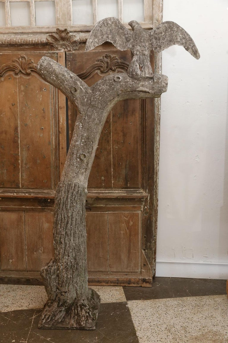 Mid-20th Century Sculpture of Hawk Perched Upon Tree For Sale