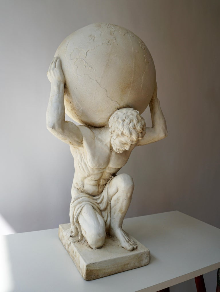 Extraordinary sculpture in gesso, of the kneeling Hercules, bearing the world, on its shoulders, after a model of Antonio Canova, Italy, late 19th century.