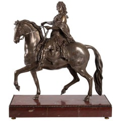 Sculpture of Louis XIV Silver Bronze and Pedestal Marble Cherry