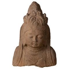 Sculpture of Quanyin Carved in Solid Basalt