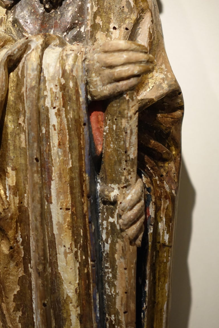 Medieval Sculpture of Saint Jacques the Minor, Burgundy, France, 15th Century For Sale