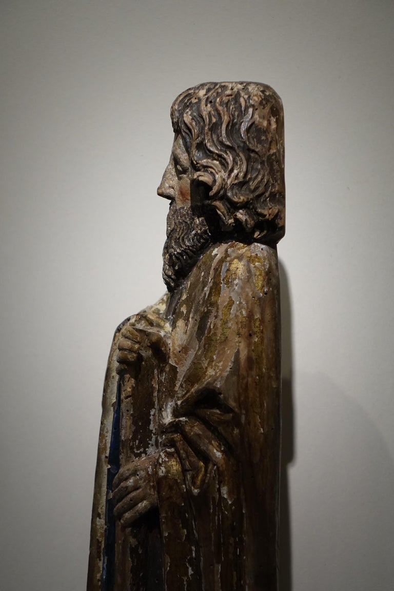 French Sculpture of Saint Jacques the Minor, Burgundy, France, 15th Century For Sale